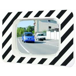 Miroir d'agglomération règlementaire cadre rayé noir et blanc 600x400 Polymir