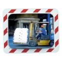 Miroir d'agglomération règlementaire inox 600x400 Vialux 874 cadre noir et blanc
