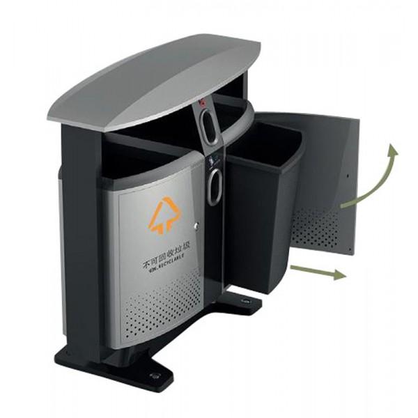 poubelle d 39 ext rieur tri selectif cendrier et collecteur de piles en inox 2x39l s3o. Black Bedroom Furniture Sets. Home Design Ideas