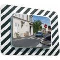 Miroir d'agglomération réglementaire cadre rayé noir et blanc 600x400 P.A.S.